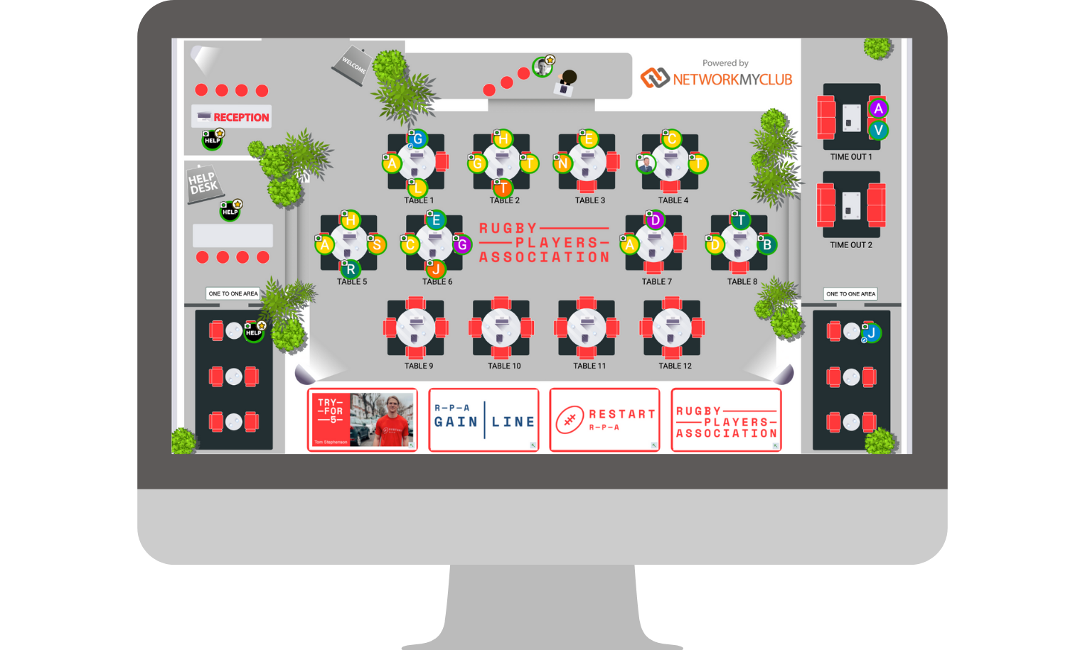 Rugby Players Association Virtual Networking Event Floor Plan